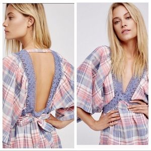 Free People Plaid For You Pink Blue Low Back Top S